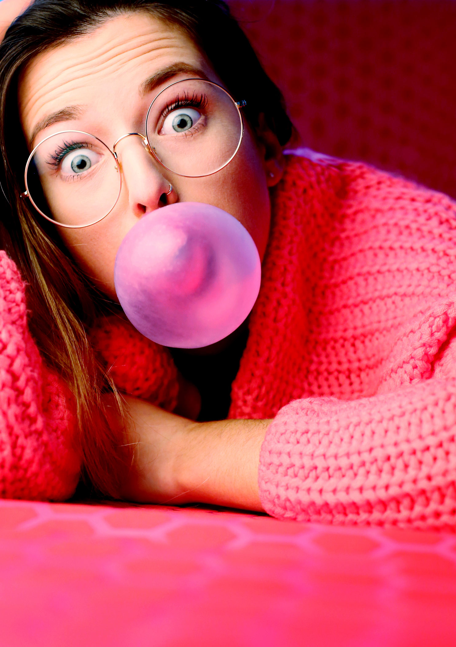 Kaugummiblase think pink Portrait